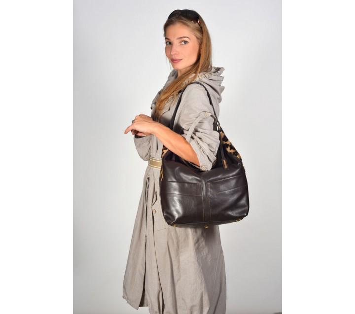 A.Bellucci сумка 101 кожа коричневый/лео