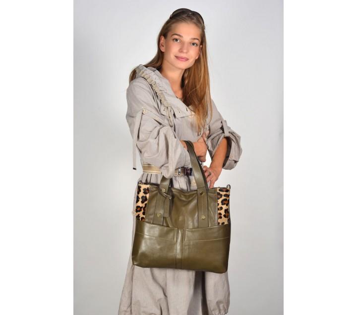 A.Bellucci сумка 102 кожа/пони зеленый