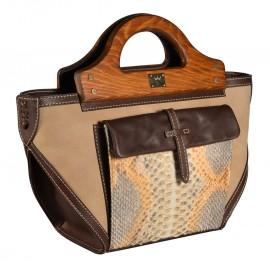 Carl Laich сумка 2620 кожа/питон/нубук беж/коричневый