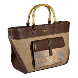 Carl Laich сумка 2649 кожа/питон/лен беж/коричневый