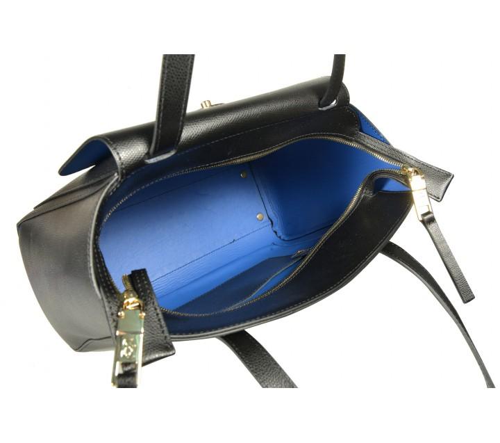 Carlo Salvatelli сумка 375 кожа сафьяно черный/синий