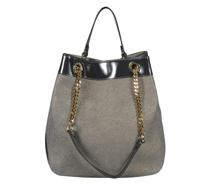 Di Gregorio сумка 774 кожа металлик серый/лак черный