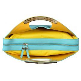 Gironacci сумка 543 кожа аквамарин/желтый