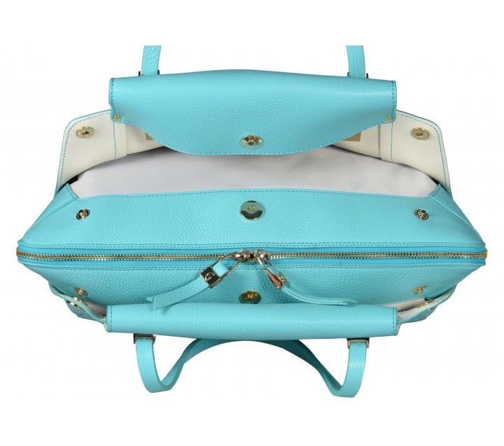 Gironacci сумка 641 кожа аквамарин/бежевый