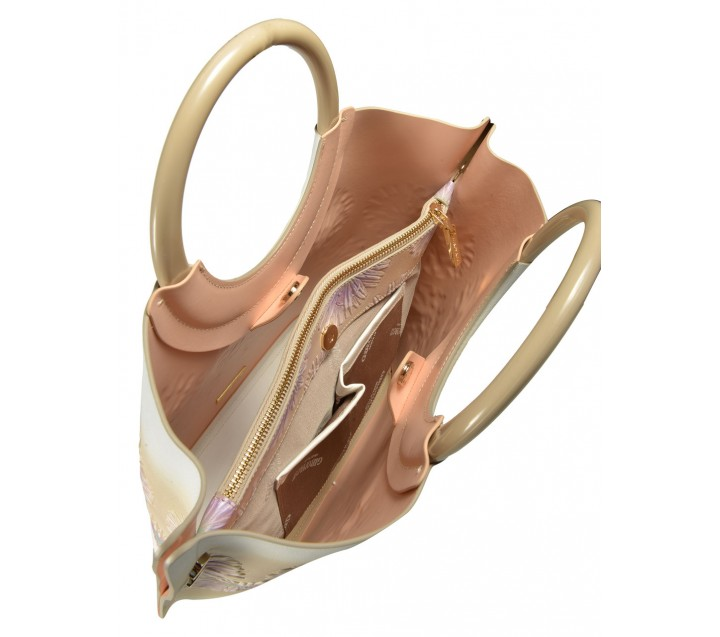 Gironacci сумка 261 кожа цветы беж/чиприя