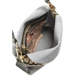 Gironacci сумка 1672 кожа металлик пиомбо/серый