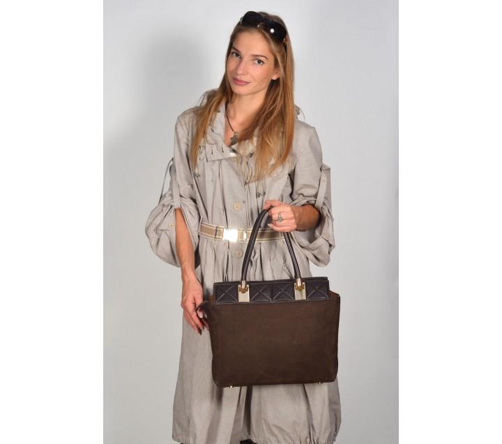 Gironacci сумка 813 набук/кожа коричневый/койо