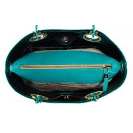 Gironacci сумка 321 кожа бирюза/черный