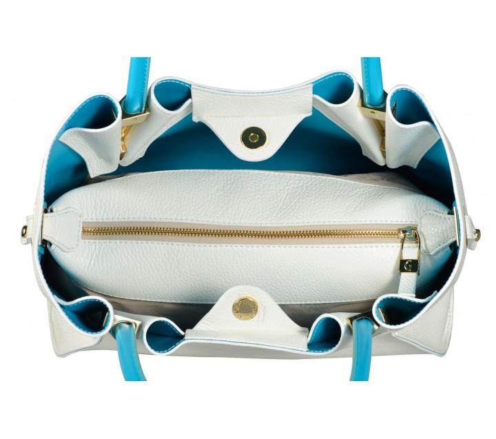 Gironacci сумка 522 кожа белый/турчезе