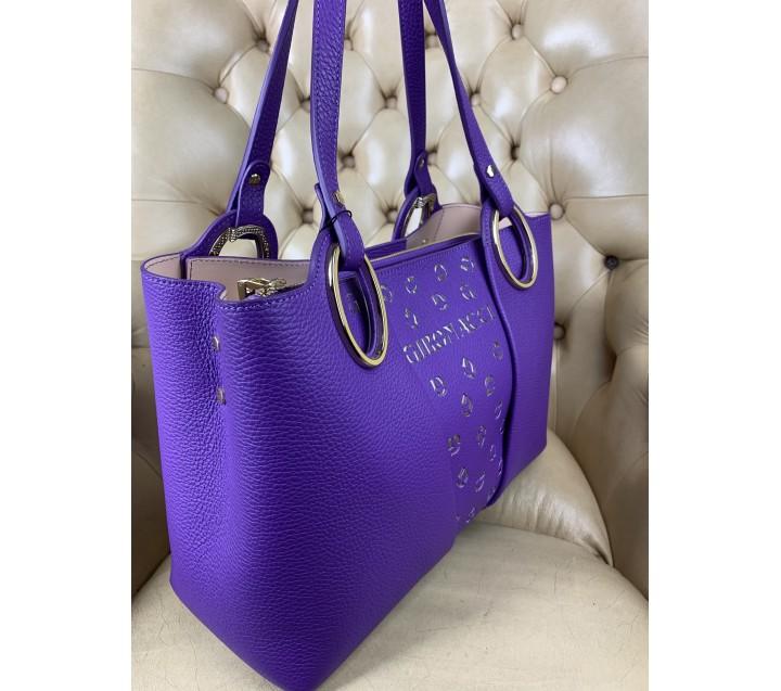 Gironacci сумка 2111 кожа фиолетовый/беж
