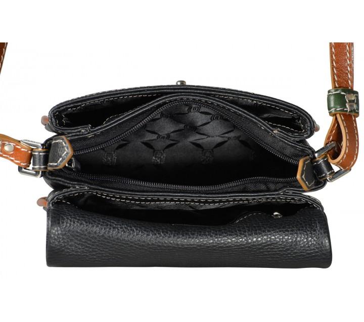 Giudi сумка 10087 кожа черный/мультиколор