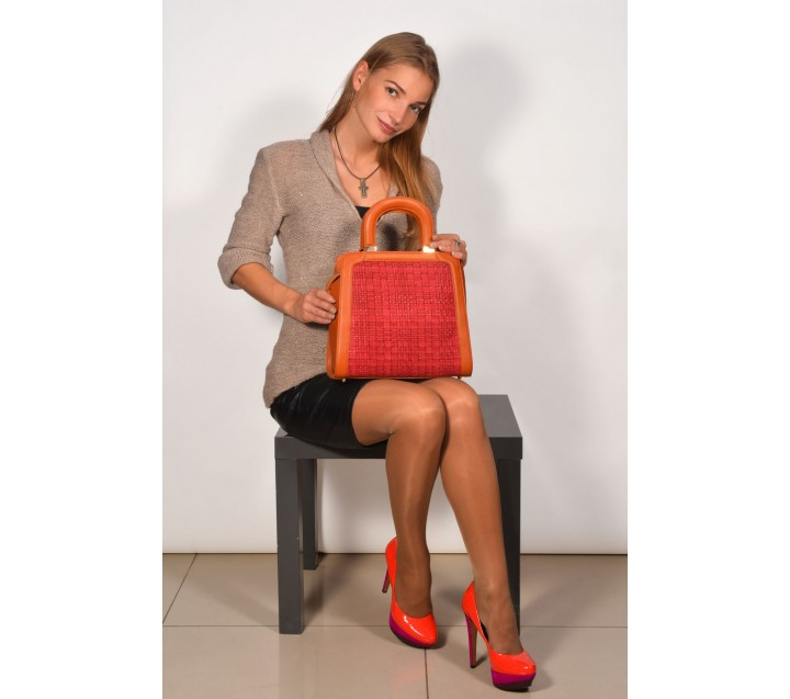 Lara сумка 9361 кожа рыжий/красный