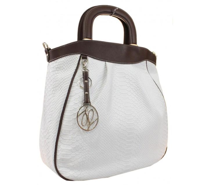 Lara сумка 9168 кожа питон белый/коричневый
