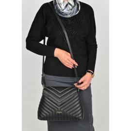 Marina C. сумка 4658 кожа черный вышивка
