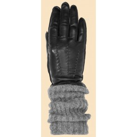 Tonelli перчатки 2512 кожа черный/шерсть серый